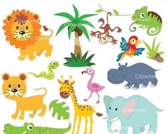 ON SALE INSTANT Download. Jungle animals clip art. Ca_15. Personal and commercial use.