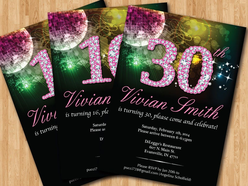 Bling birthday invitation 13th 16th 20th 21th 30th 40th 50th zoom filmwisefo Images