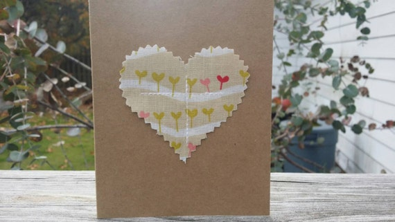 Customizable Handmade Heart Card/Fabric Scrap Heart Card/Handmade Holiday Card/Handmade Greeting Card/Blank Heart Card/Valentines Day Card