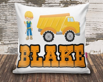 Construction/Dump Truck/Boy/Name/Throw Pillowcase/14x14/velvet/custom print/personalized/kid/baby shower gift/unique baby gift/new baby gift