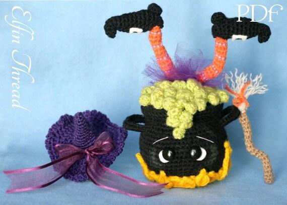 Halloween Amigurumi Crochet Pattern : Elfin thread halloween witch cauldron amigurumi pdf pattern