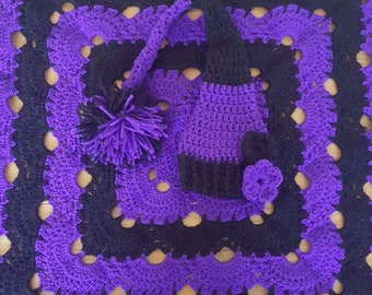 Striped virus baby blanket and matching hat