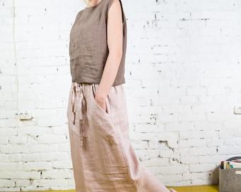 Long Linen Skirt, Boho Skirt,Grey Maxi Skirt,Long Skirt, Maxi Skirt Boho, Skirt with Pockets,Womens Skirts, Linen skirt, Custom Skirt/LS0003