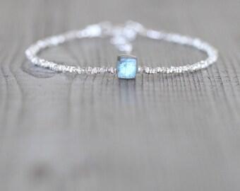 Labradorite, Sterling & Fine Silver Beaded Bracelet. Dainty Karen Hill Tribe Stacking Bracelet. Blue Gemstone Jewelry. Delicate Jewellery