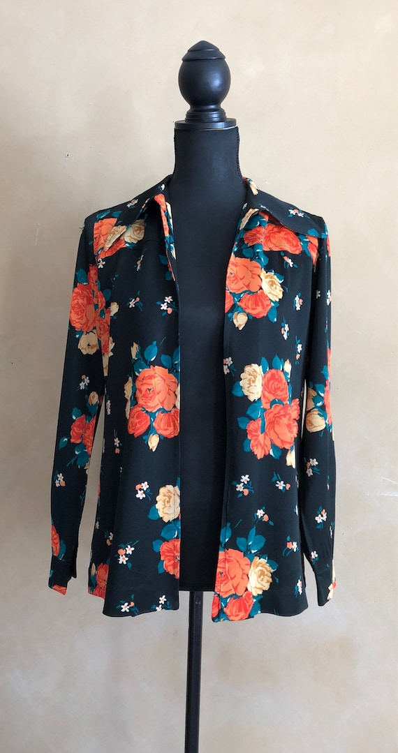 Vintage Floral Blouse - 60/70's - Black with Bright Orange Floral Rose Pattern