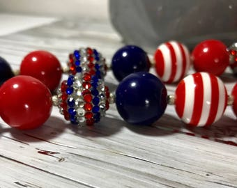 Beaded Acrylic/Resin Chunky Necklace,  Statement Necklace,  Chunky Bead Necklace /Red/White/Blue, Jewelry, Gift, Patriotic,