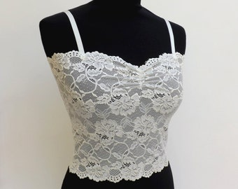 Ivory lace tank top. Elastic floral lace camisole. Offwhite lace bralette. Lace top. Bridal lingerie.
