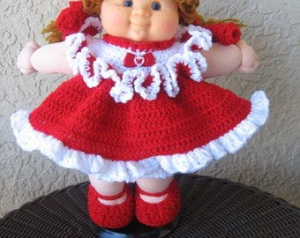 """Crochet Red and White dress set for 14"""" Cabbage Patch Doll."""