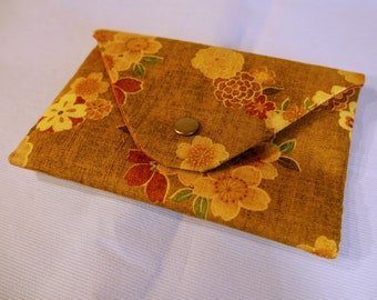 Envelope clutch - vintage yellow Japanese fabric