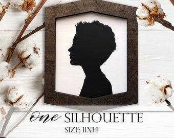 Farmhouse Style Silhouettes (QUANTITY 1) 11x14 MORE COLORS / child silhouettes / child portraits / wood silhouettes