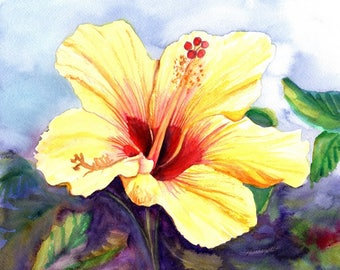 yellow hibiscus art prints, 8x10 giclee print, hawaiian art, hibiscus paintings, kauai maui oahu,  hawaiiana, tropical flowers, aloha