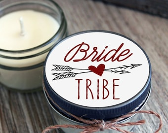 Set of 12 - 4 oz Soy Candles - Bride Tribe Candles//Bride Tribe Shower Favors//Team Bride Favors//Team Bride//Heart Favor