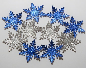 50 Silver and Blue Glitter Snowflakes,Confetti,Embellishment,Wedding,Winter Onederland,Baby Shower