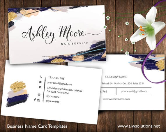 gold and blue Business Cards Name Card Template cute