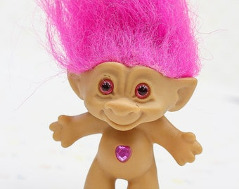 Vintage Pink Haired Treasure Troll, Ace Novelty | 90s Pink Haired Troll w/ Pink Heart Jewel on Tummy | 90s Troll Gift | Gift for Troll Lover