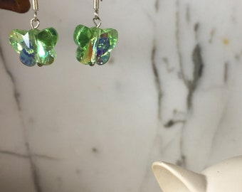 Green AB .:. Swarovski Butterfly Earrings - Spring Green - Mother's Day Gift