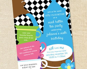 Sweet Wishes Mad Hatter Alice in Wonderland Tea Party Invitations - PRINTED - Digital File Also Available