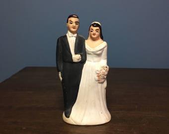 Vintage 1930's Bisque Wedding Cake Topper Bride and Groom (CT #8)