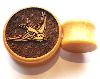 Pair of Engraved Swallow Plugs (Pair) [Organic wood stretchers/ Tunnels / Gauges 12mm - 60mm]