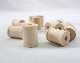 "Little wooden spools 1 inch, wood spool, 1"" spool, one inch spool, set of 12"