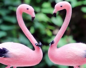 Pink Flamingo Wedding Cake Topper: Groom & Groom Gay Love Bird Cake Topper -- Two Grooms
