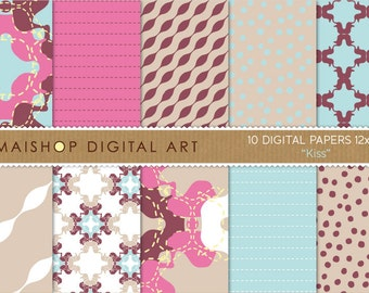 Digital Paper 'Kiss' Hot Pink, Maroon, Celeste... Abstract, Dotted, Striped Printable Backgrounds for Invites, Cards...
