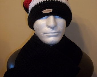 Crochet man slouchy beanie with scarf set