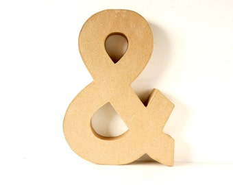 "Paper Mache Ampersand & (12"" tall) - Ready to Decorate Blank Symbol , Home Decor, and more"