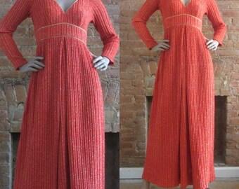1960s Lillie Rubin fiery orange metallic knit maxi dress • 60's 70's glamour