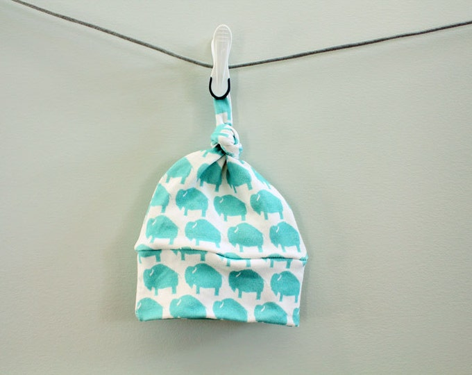 SALE Baby hat hipster turquoise bison buffalo Organic knot modern newborn  photography prop hospital outfit accessory neutral girl boy