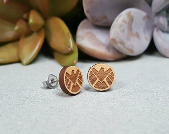 Agents of Shield Earrings - Laser Engraved Wood Earrings - Hypoallergenic Titanium Post Earring Pair - Marvel