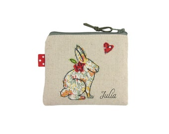 Rabbit Coin Purse, Bunny Lover Gift, Small Cute Things, Little Zipper Pouch, Personalised Gift for Girls