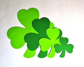 Shamrock Die Cuts - All Sizes - Clover Die Cuts - Paper Shamrocks - Paper Clover - Green Clover - Die Cuts - St. Patrick's Day  - Shamrock