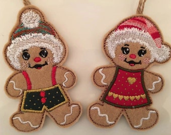 NNC Boy and Girl Gingerbread Christmas Applique Hangers for the 4x4 hoop in all popular formats