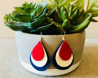 Red, White and Blue Layered Leather Teardrop Earrings