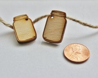 "2 - 1"" Wood Mason Jar Shapes for Earrings, Mason Jars, Mason Jar Charm, Mason Jar Cutouts with Holes, Mason Jar Shapes, DIY Earring Supplies"