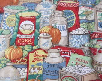 Vintage Colorful Food and  Vegetables Kitchen Towel