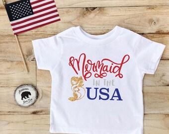 Kids 4th of July Shirt | Fourth of July Shirt | Mermaid in the USA | 4th of July Outfit | 4th of July Shirt Toddler | Girl Toddler Shirt