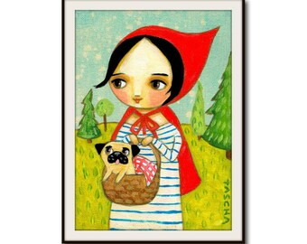 Little Red Riding Hood and Pug PRINT cute pug poster print of painting by Tascha nursery kids room wall art