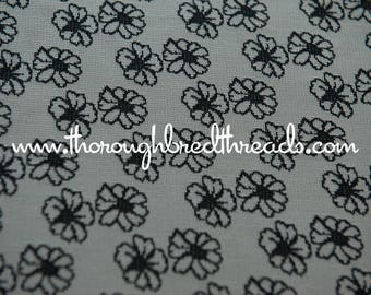 Dark Daisies- Vintage Fabric Whimsical Novelty New Old Stock 70s Adorable