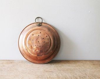 Copper Strainer - Wall Hanging - Punched Copper - Copperwear - Sieve - Collander - Vintage / Antique