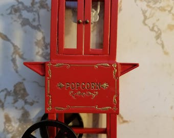 Miniature Popcorn Machine Town Square Miniatures Miniature Dollhouse Red Popcorn Machine on Cart