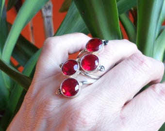 Ring in silver plated 925 and four red quartz (BA214)