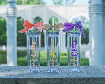 Personalized Tumbler Bridesmaid Gift Bride Team Tumbler with Straw and Lid Skinny Tumbler Acrylic Tumbler Clear Tumbler Bridal Party Wedding