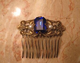 SAPPHIRE BLUE Comb bridal comb antique brass comb bridal accessories wedding accessories wedding comb bridal comb blue hair comb Victorian