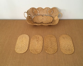 Vintage Rectangular Raffia Basket/Catchall with Handles, plus 4 Coasters