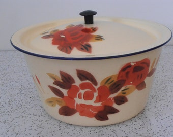 red flowers...vintage enamel ware dish with lid