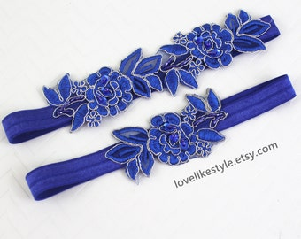 Wedding Garter Set,Royal Blue  Embroidery Flower Lace Wedding Garter Set, Blue Garter Set,Something Blue / GT-34A