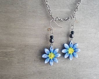 Handmade blue flower earrings, silver, nature, floral ear jewelry, valentines day gift for her, girlfriend gift, jewellery, birthday, pearls