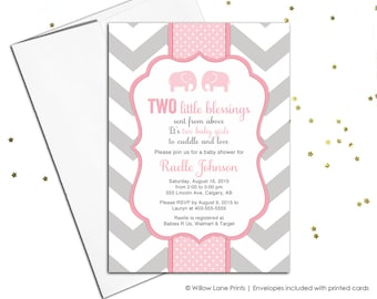 Twin baby girl shower invitations with twin girl elephants - twin girls baby shower invites - chevron - printable or printed - WLP00795